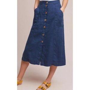 Anthro Akemi+Kin Riverine Midi Skirt Button Front